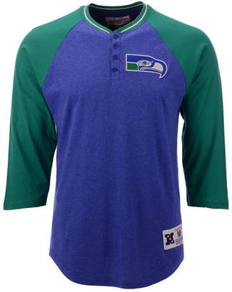Mitchell & Ness Men's Seattle Seahawks Four Button Henley T-Shirt