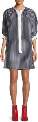 Marc Jacobs Crewneck 3/4-Sleeves Striped Cotton Shirtdress