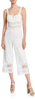 Saylor Gabri Floral Lace Sleeveless Crop Jumpsuit