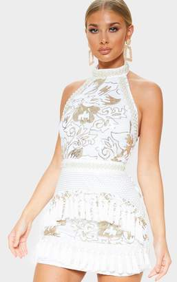 cb483d86424e PrettyLittleThing Charlyia White Premium Halterneck Sequin Tassel Bodycon  Dress