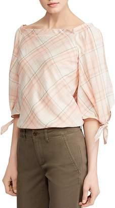 Lauren Ralph Lauren Off-the-Shoulder Plaid Top