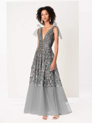 Oscar de la Renta Sequin Loop Embroidered Tulle Gown