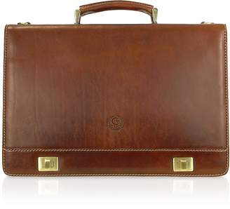 Chiarugi Handmade Brown Genuine Italian Leather Multi-pocket Briefcase