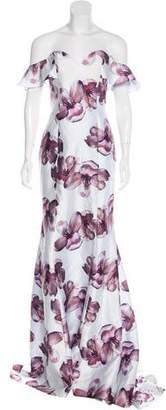 Alberto Makali Off-The-Shoulder Floral Print Gown