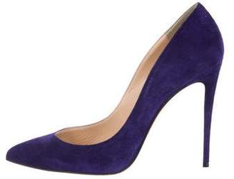 Christian Louboutin Suede Pointed-Toe Pumps