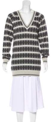Chanel Embellished Cashmere & Silk Sweater Grey Embellished Cashmere & Silk Sweater