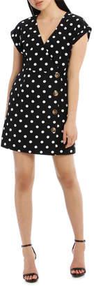 Miss Shop Button Feature Wrap Dress - Polka Dot
