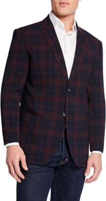 Neiman Marcus Men's Plaid Crinkle Travel Blazer