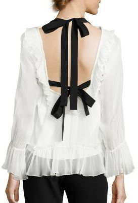 Cinq a Sept Amina Silk Tie Back Ruffle Blouse $345 thestylecure.com