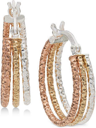 c4cd41990 Giani Bernini Small Tri-Color Hoop Earrings in Sterling Silver & 18k Gold-  and