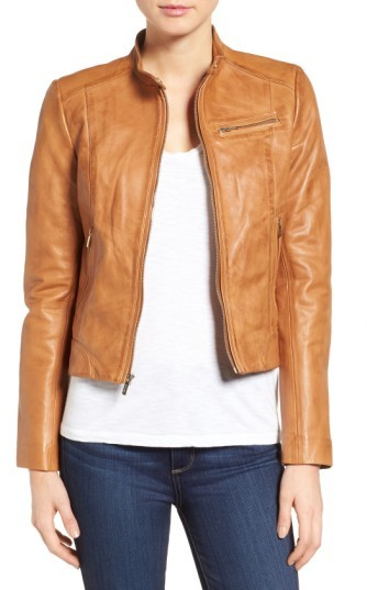 Cole Haan Women's Cole Haan Band Collar Leather Racer Jacket