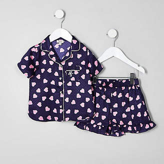 River Island Mini girls Navy heart print pyjama set