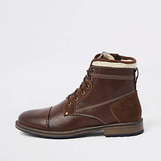 River Island Brown fleece trim lace-up boots