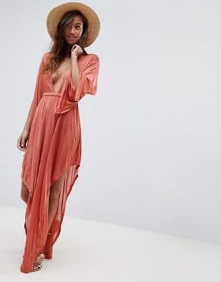 e6c0af30be Asos Design DESIGN slinky glam long sleeve plunge beach dress