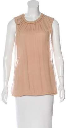 Lanvin Crinkled Sleeveless Top