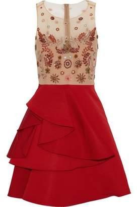 Marchesa Embellished Tulle And Ruffled Silk-Faille Mini Dress