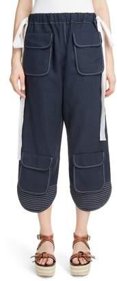 Loewe Contrast Stitch Crop Pants