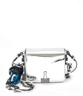 Off-White Mirror Flap Crossbody Bag with Binder Clip