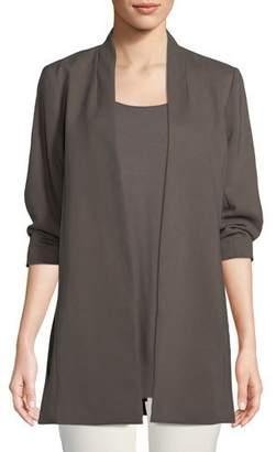 Eileen Fisher 3/4-Sleeve Draped Long Jacket