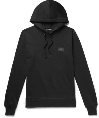 Dolce & Gabbana Logo-Appliqued Loopback Cotton-Jersey Hoodie - Men - Black