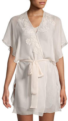 Christine Lingerie Beloved Lace-Applique Chiffon Robe