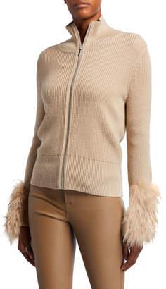 Elie Tahari Norah Zip-Front Wool Sweater with Fur Cuffs