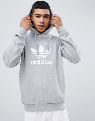 adidas adicolor pullover hoodie with Trefoil logo in grey CY4572