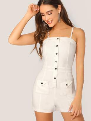 Shein Flap Pocket Front Button Up Cami Romper