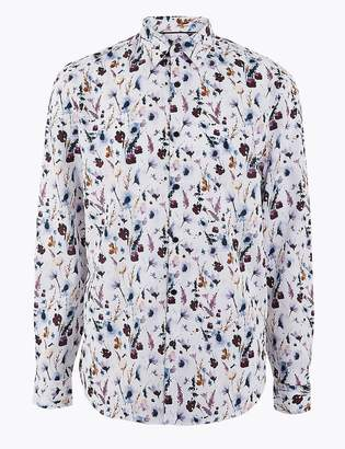 AutographMarks and Spencer Cotton Watercolour Print Shirt