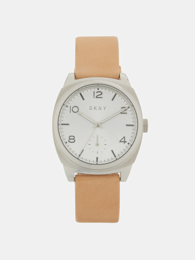 DKNY Broome Stainless Steel And Beige Vachetta 36mm Leather Watch