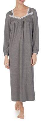 Eileen West Long-Sleeved Heathered Lace-Trim Nightgown