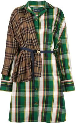 Kolor patchwork check shirt dress