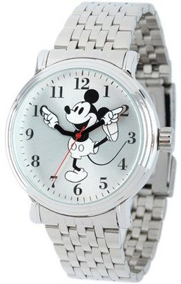 Disney Mickey Mouse Men's Shinny Silver Vintage Articulating Alloy Case Watch, Silver Bracelet