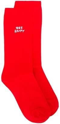 Ganni Bee Happy slogan socks