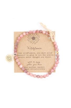 Eff.Y.Bee eff.Y.bee Mini Bliss Rhodonite Beaded Wildflower Charm Bracelet