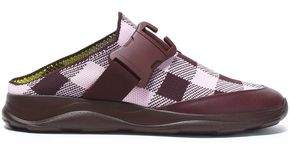 Christopher Kane Leather-Trimmed Gingham Woven Slip-On Sneakers