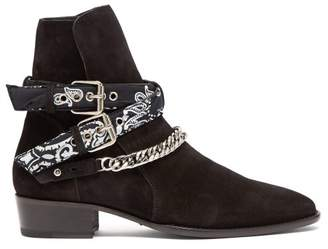 Amiri - Bandana & Chain Ankle Strap Suede Ankle Boots - Mens - Black