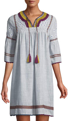 Neiman Marcus Embroidered Peasant Shift Dress