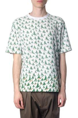 Marni White & Green Cotton T-shirt With Windsurf Print