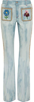 Gucci Studded Embroidered Mid-rise Flared Jeans - Mid denim