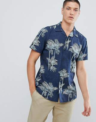 Jack and Jones Originals Short Sleeve Shirt With Revere Collar And Print