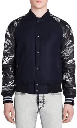 Lanvin Men's Canyon Print Slim-Fit Leather Jacket