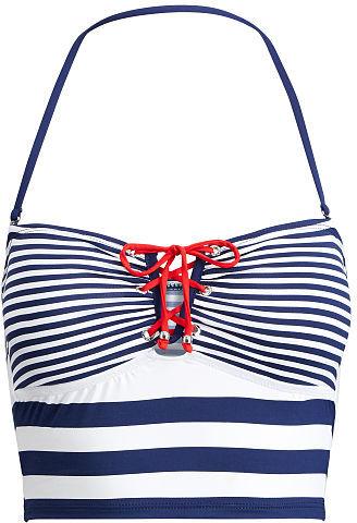 Ralph Lauren Lauren Striped Cropped Bikini Top