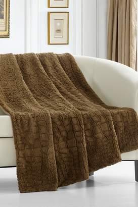 Gharial Faux Fur Throw Blanket - 50 x 60 - Gold