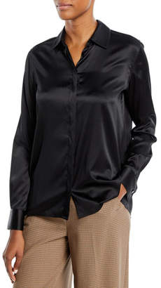 Rosetta Getty Long-Sleeve Button-Front Drape-Back Silk Satin Shirt