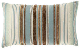 Elaine Smith Chocolate/Aqua Multi-Stripes Pillow