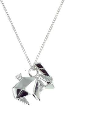 Origami Jewellery Black Silver Mini Deer Origami Necklace