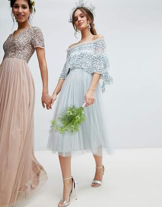 Maya embellished bardot layered midaxi dress in ice blue