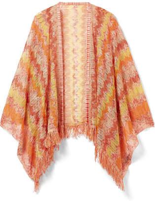 Missoni Fringed Crochet-knit Wrap - Orange