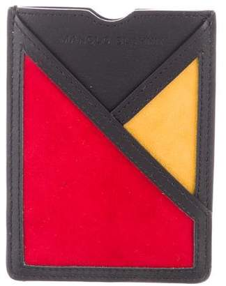 Manolo Blahnik Leather Suede-Trimmed Wallet w/ Tags